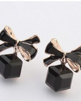 Black and Gold Stud Earrings with Bow