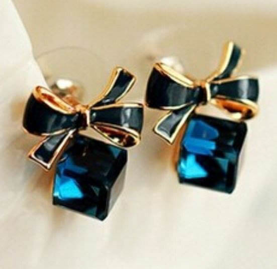 jewelry ea cz cut blue studs bling princess sapphire color silver earrings stud sterling